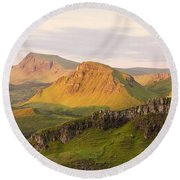 First Light Trotternish Panorama Round Beach Towel