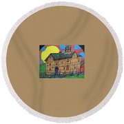 First Menominee High School. Round Beach Towel by Jonathon Hansen
