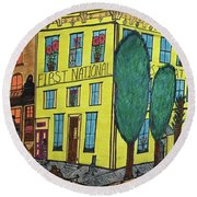 First National Hotel. Historic Menominee Art. Round Beach Towel by Jonathon Hansen
