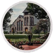 Round Beach Towel featuring the photograph First Presbyterian Church by Kendall McKernon