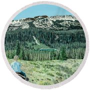 Round Beach Towel featuring the painting First Ride by Kevin Daly