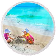 First Sand Castle Round Beach Towel