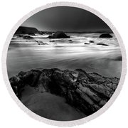 First Sign Of Light Round Beach Towel