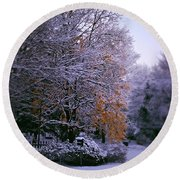 First Snow After Autumn Round Beach Towel