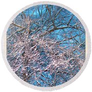First Snow At Dawn Round Beach Towel