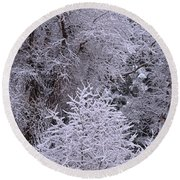 First Snow I Round Beach Towel