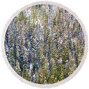 First Snow On Trees Round Beach Towel