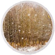 First Snow. Snow Flakes I Round Beach Towel