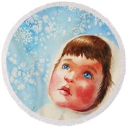 First Snowfall Round Beach Towel by Marilyn Jacobson