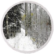First Snowfall Round Beach Towel