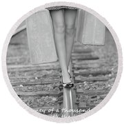 Round Beach Towel featuring the photograph First Step by Barbara West