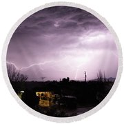 Round Beach Towel featuring the photograph First Summer Storm by Charles Ables