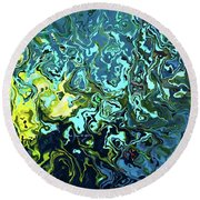 Round Beach Towel featuring the digital art Fish Abstract Art by Annie Zeno
