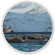 Round Beach Towel featuring the photograph Fish Are Flying by Randy Hall