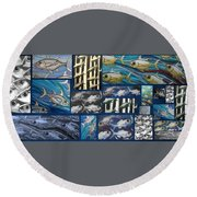 Fish Collage Round Beach Towel