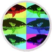 Round Beach Towel featuring the digital art Fish Dinner Pop Art by Nancy Merkle