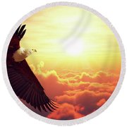 Fish Eagle Flying Above Clouds Round Beach Towel