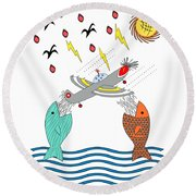 Fish Food Round Beach Towel by Methune Hively