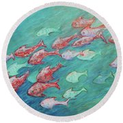 Round Beach Towel featuring the painting Fish In Abundance by Xueling Zou