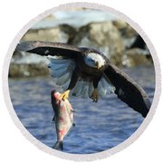 Round Beach Towel featuring the photograph Fish In Hand by Coby Cooper