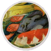 Fish Round Beach Towel by Leah Saulnier The Painting Maniac
