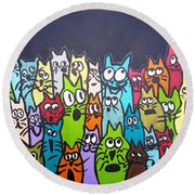 Fish Moon Cats Round Beach Towel