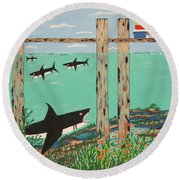 Fish Not Biting Today Round Beach Towel