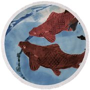 Fish Pond Round Beach Towel