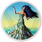 Fish Queen Round Beach Towel