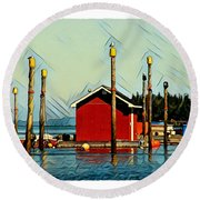 Fish Shack, Campobello Round Beach Towel