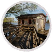 Round Beach Towel featuring the photograph Fish Shack by Fran Riley