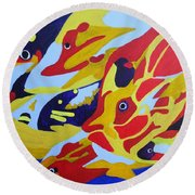 Fish Shoal Abstract 2 Round Beach Towel