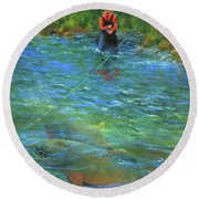Round Beach Towel featuring the painting Fish Story by Jeanette French