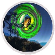 Round Beach Towel featuring the painting Fish Too Big For Cormorant by Mojo Mendiola