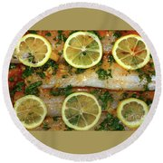 Round Beach Towel featuring the photograph Fish With Lemon And Coriander By Kaye Menner by Kaye Menner