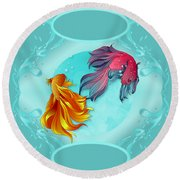 Fish Bowl Fantasy Round Beach Towel