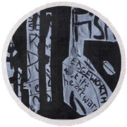 Fisher Covers White On Black Round Beach Towel