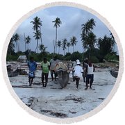 Fisherman Heading In From Their Days Catch At Sea With A Wooden Dhow Round Beach Towel