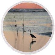 Fisherman Heron Round Beach Towel