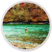 Round Beach Towel featuring the photograph Fisherman Hot Springs Ar In Oil by Diana Mary Sharpton