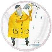 Fisherman Round Beach Towel by Leanne WILKES