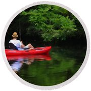 Fisherman On Lady Bird Lake - Digitalart Round Beach Towel