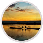 Fisherman On Their Boat Round Beach Towel