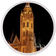 Round Beach Towel featuring the digital art  Fishermans Bastion - Budapest by Pat Speirs