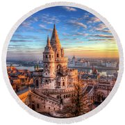 Fisherman's Bastion In Budapest Round Beach Towel