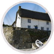 Round Beach Towel featuring the photograph Fishermans Cottage by Brian Roscorla