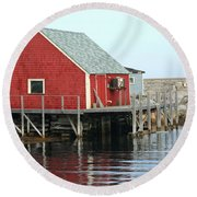 Fishermans House On Peggys Cove Round Beach Towel