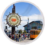Fishermans Wharf - San Francisco Round Beach Towel
