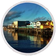 Fisherman's Wharf At Dusk Round Beach Towel