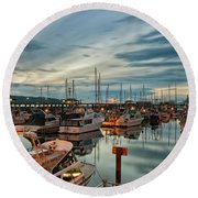 Round Beach Towel featuring the photograph Fishermans Wharf by Randy Hall